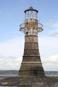 Example of a monument - a lighthouse: Whitford Point Lighthouse, Glamorganshire, 1865. © RCAHMW, 2006.